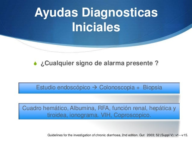 Ayudas Diagnosticas         Iniciales    S ¿Cualquier signo de alarma presente ?     Estudio endoscópico  Colonoscopia + ...