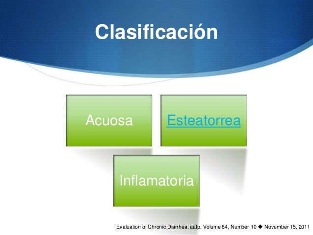 ClasificaciónAcuosa                 Esteatorrea    Inflamatoria   Evaluation of Chronic Diarrhea, aafp, Volume 84, Number ...