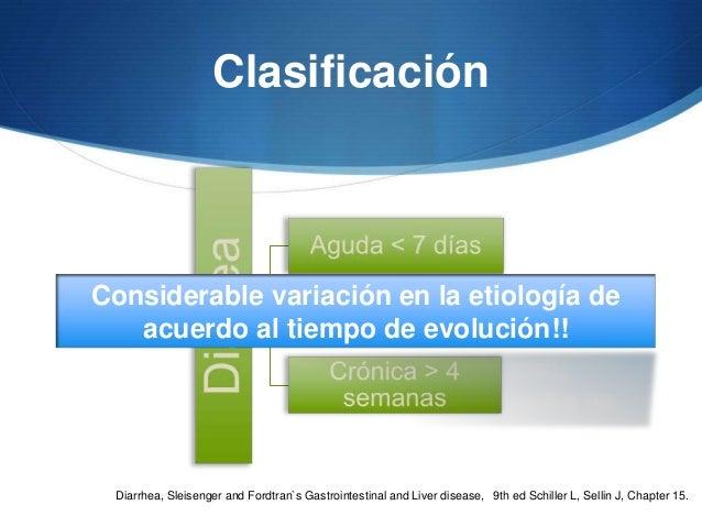 ClasificaciónConsiderable variación en la etiología de   acuerdo al tiempo de evolución!! Diarrhea, Sleisenger and Fordtra...