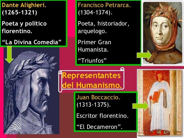 """Dante Alighieri.  (1265-1321) Poeta y político florentino. """" La Divina Comedia"""" Francisco Petrarca.  (1304-1374). Poeta, h..."""