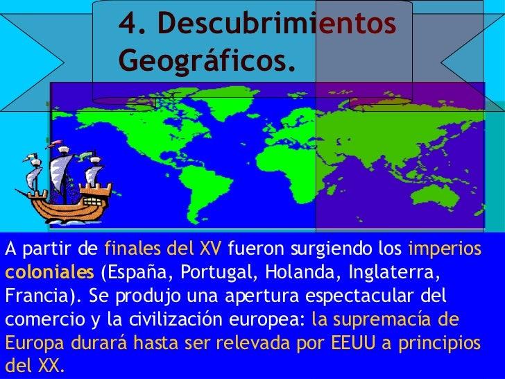 4. Descubrimientos Geográficos. A partir de  finales del XV  fueron surgiendo los  imperios  coloniales   (España, Portuga...