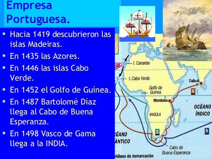 Empresa Portuguesa. <ul><li>Hacia 1419 descubrieron las islas Madeiras. </li></ul><ul><li>En 1435 las Azores. </li></ul><u...