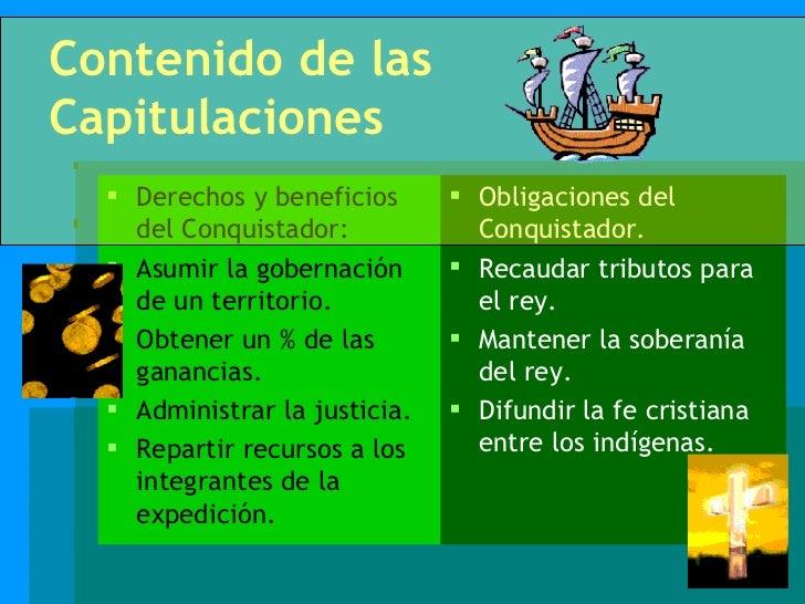 Contenido de las Capitulaciones <ul><li>Derechos y beneficios del Conquistador: </li></ul><ul><li>Asumir la gobernación de...
