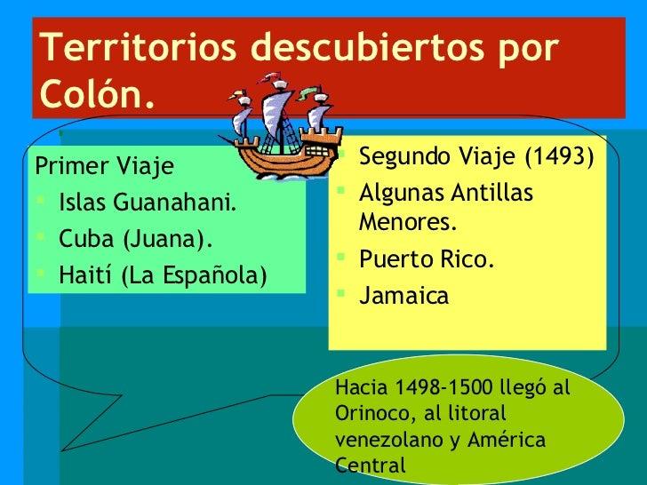 Territorios descubiertos por Colón. <ul><li>Primer Viaje </li></ul><ul><li>Islas Guanahani. </li></ul><ul><li>Cuba (Juana)...