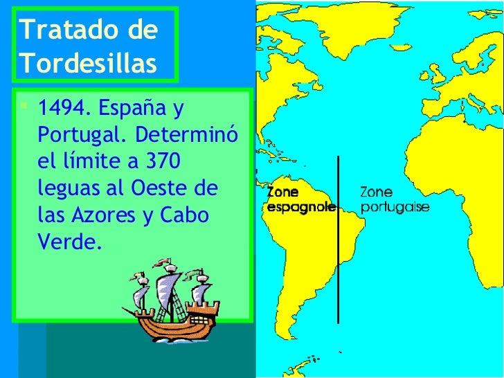 Tratado de Tordesillas <ul><li>1494. España y Portugal. Determinó el límite a 370 leguas al Oeste de las Azores y Cabo Ver...