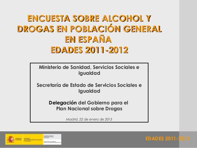 ENCUESTA SOBRE ALCOHOL YDROGAS EN POBLACIÓN GENERAL         EN ESPAÑA      EDADES 2011-2012    Ministerio de Sanidad, Serv...