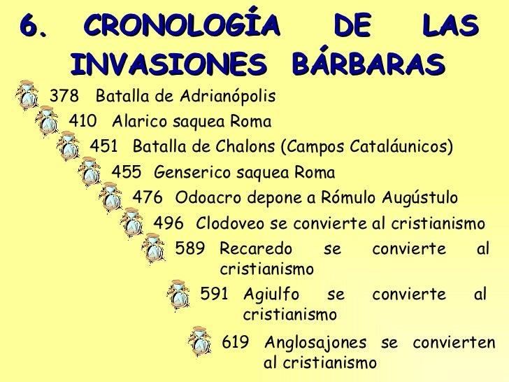 6.  CRONOLOGÍA  DE  LAS   INVASIONES  BÁRBARAS Batalla de Adrianópolis 378 Alarico saquea Roma 410 Batalla de Chalons (Cam...