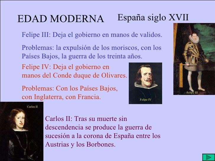 EDAD MODERNA España siglo XVII Felipe III: Deja el gobierno en manos de validos. Problemas: la expulsión de los moriscos, ...