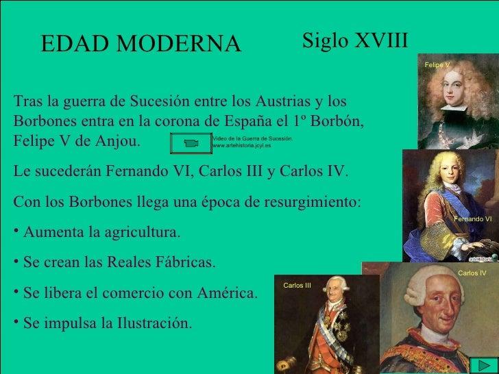 EDAD MODERNA Siglo XVIII <ul><li>Tras la guerra de Sucesión entre los Austrias y los Borbones entra en la corona de España...