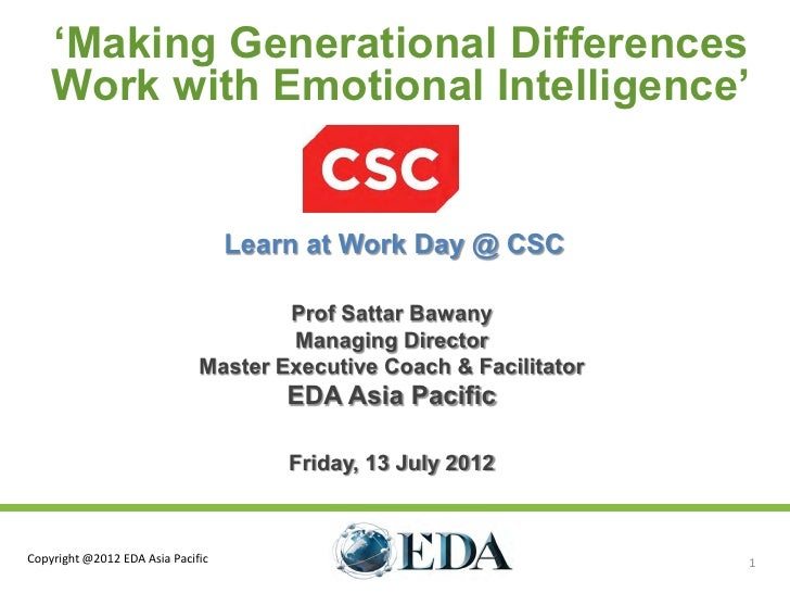 'Making Generational Differences    Work with Emotional Intelligence'                                   Learn at Work Day ...