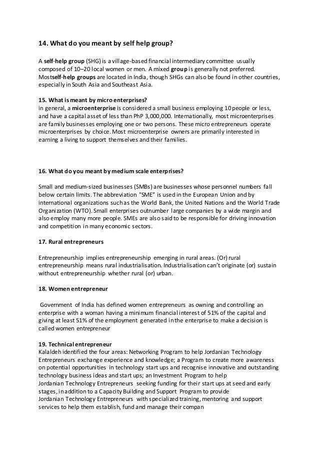 Entrepreneurship short question and answer