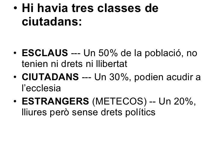 <ul><li>Hi havia tres classes de ciutadans: </li></ul><ul><li>ESCLAUS  --- Un 50% de la població, no tenien ni drets ni ll...