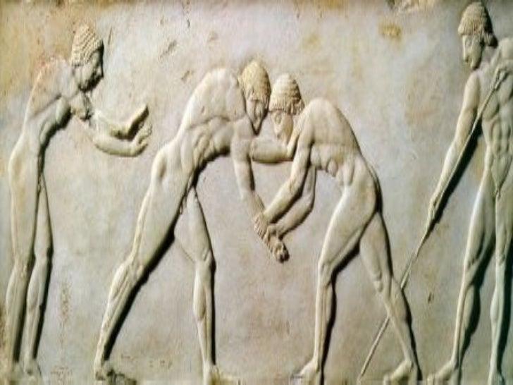 <ul><li>Els qui practicaven l'esport anaven despullats (gymnos vol dir nu) i s'untaven el cos amb oli! </li></ul><ul><li>L...