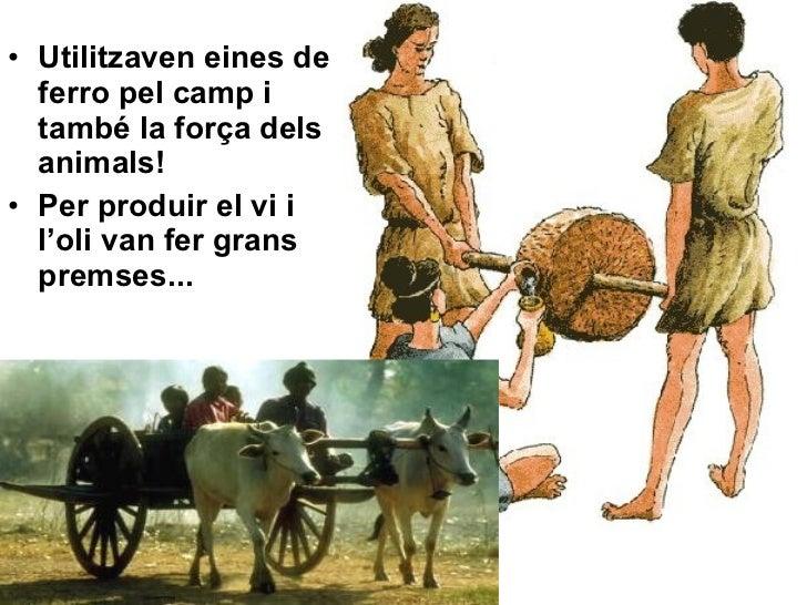 <ul><li>Utilitzaven eines de ferro pel camp i també la força dels animals! </li></ul><ul><li>Per produir el vi i l'oli van...