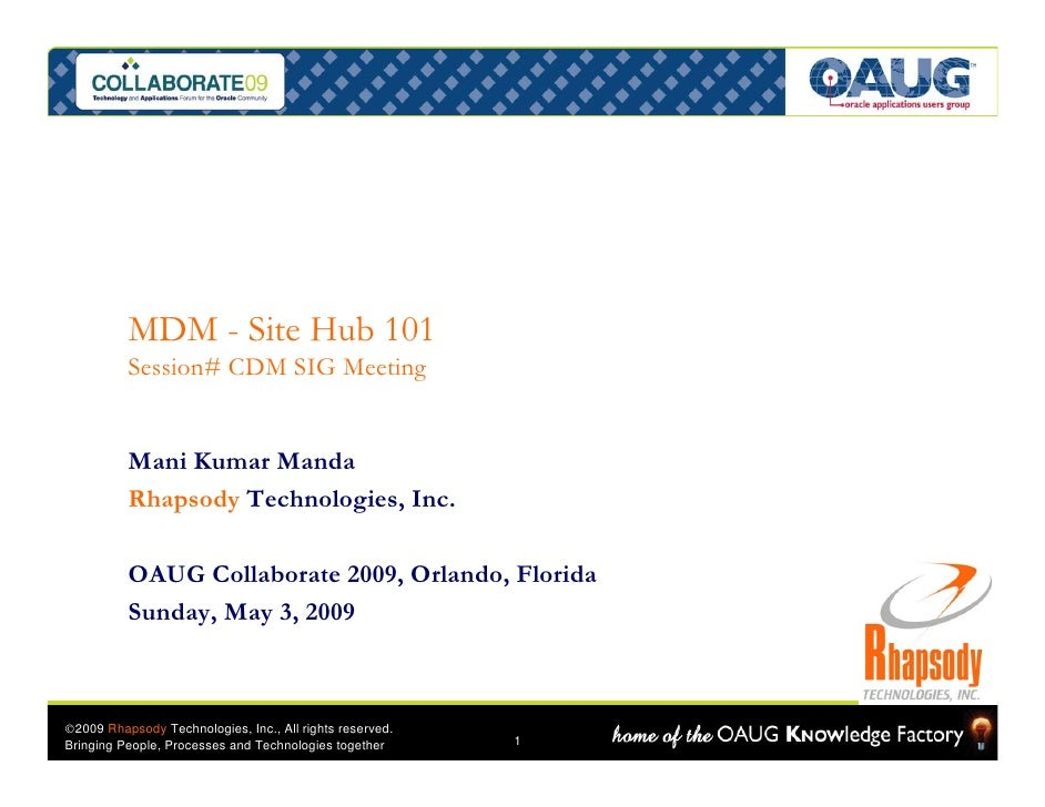 MDM - Site Hub 101           Session# CDM SIG Meeting             Mani Kumar Manda           Rhapsody Technologies, Inc.  ...