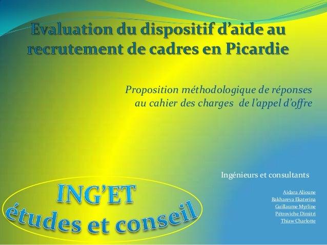 Proposition méthodologique de réponses au cahier des charges de l'appel d'offre  Ingénieurs et consultants Aidara Alioune ...