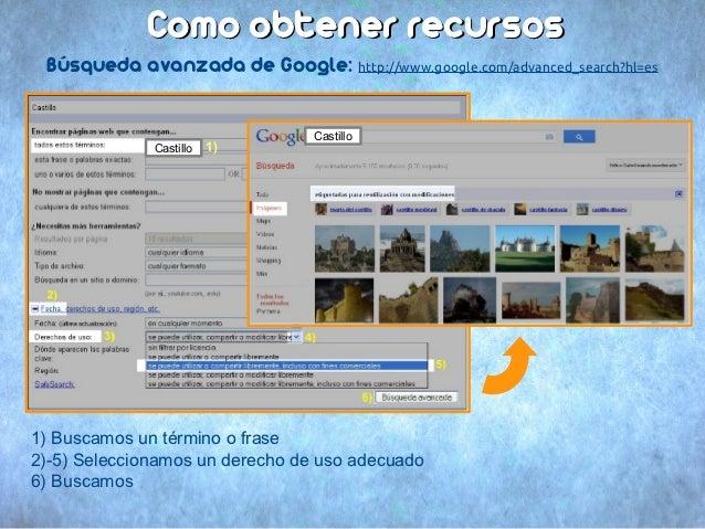 Como obtener recursos Búsqueda avanzada de Google: http://www.google.com/advanced_search?hl=es                            ...