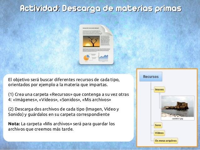 Actividad: Descarga de materias primasEl objetivo será buscar diferentes recursos de cada tipo,orientados por ejemplo a la...
