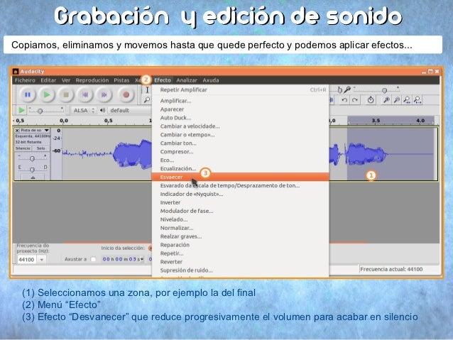 Grabación y edición de sonidoCopiamos, eliminamos y movemos hasta que quede perfecto y podemos aplicar efectos...  (1) Sel...