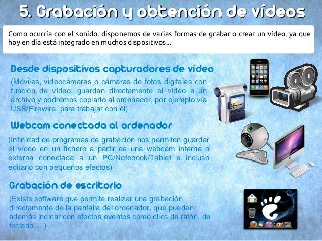 5. Grabación y obtención de vídeosComo ocurría con el sonido, disponemos de varias formas de grabar o crear un vídeo, ya q...