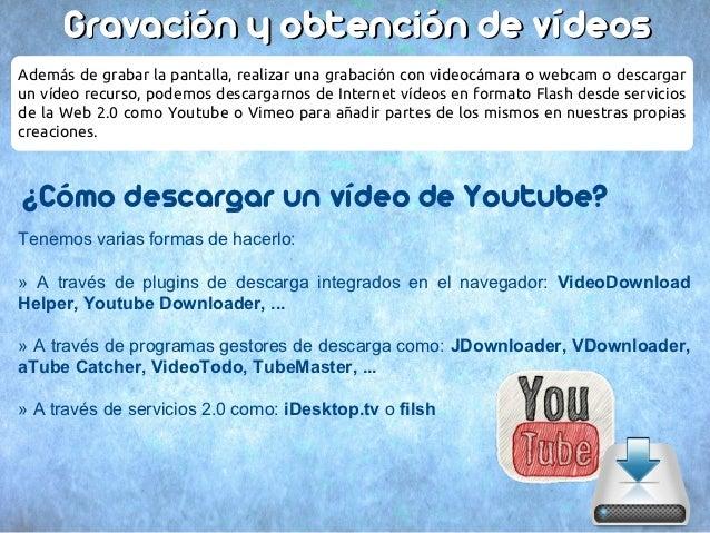 Gravación y obtención de vídeosAdemás de grabar la pantalla, realizar una grabación con videocámara o webcam o descargarun...