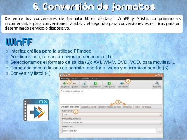 6. Conversión de formatosDe entre los conversores de formato libres destacan WinFF y Arista. Lo primero esrecomendable par...