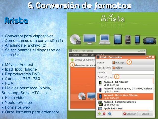 6. Conversión de formatos Arista» Conversor para dispositivos» Comenzamos una conversión (1)» Añadimos el archivo (2)» Sel...
