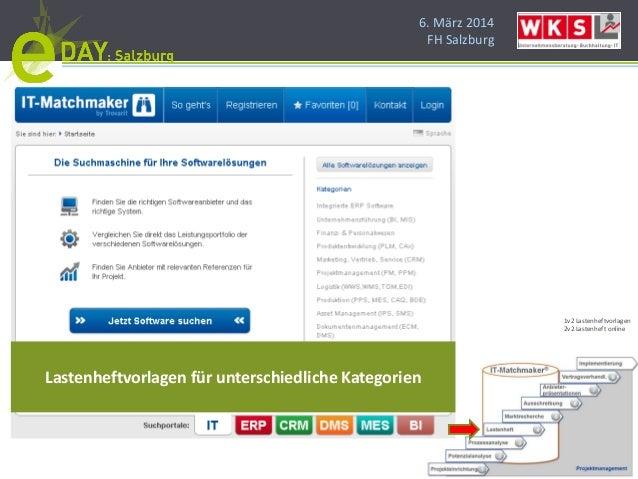 6. März 2014 FH Salzburg Lastenheftvorlagen für unterschiedliche Kategorien 1v2 Lastenheftvorlagen 2v2 Lastenheft online