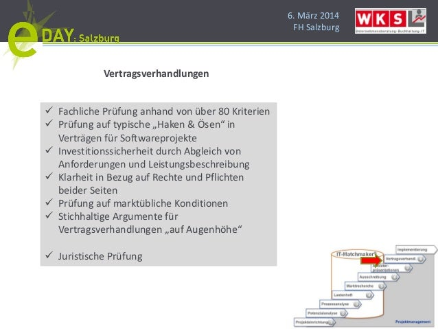"""6. März 2014 FH Salzburg Vertragsverhandlungen  Fachliche Prüfung anhand von über 80 Kriterien  Prüfung auf typische """"Ha..."""