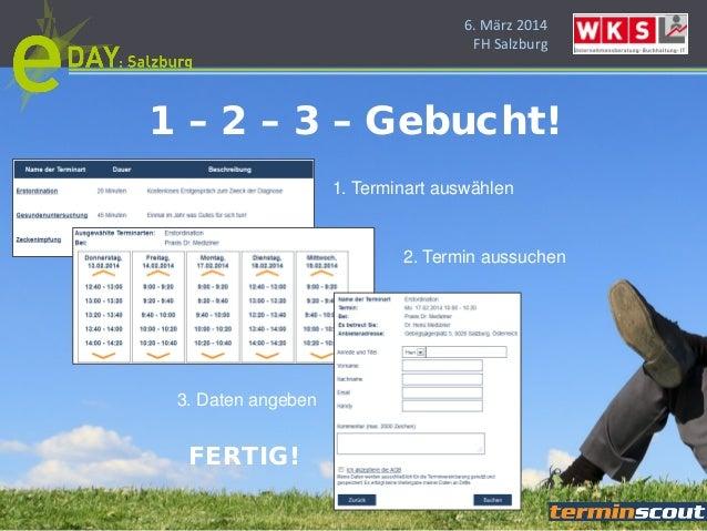 6. März 2014 FH Salzburg 1. Terminart auswählen 2. Termin aussuchen 3. Daten angeben FERTIG! 1 – 2 – 3 – Gebucht!