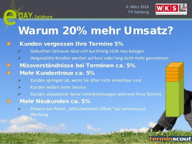 6. März 2014 FH Salzburg Kunden vergessen Ihre Termine 5%  Gebuchter Zeitraum lässt sich kurzfristig nicht neu belegen  ...