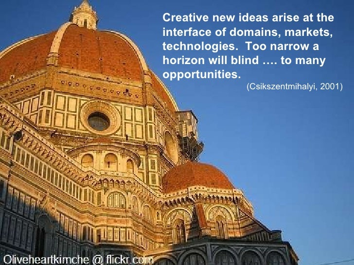Creative new ideas arise at the interface of domains, markets, technologies.  Too narrow a horizon will blind …. to many o...
