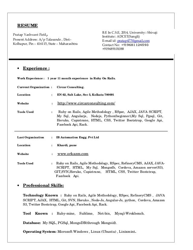 RESUME  Pratap Yashvant Patil,  Present Address: A/p Talasande , Dist:-  Kolhapur, Pin – 416115, State – Maharashtra  · Ex...