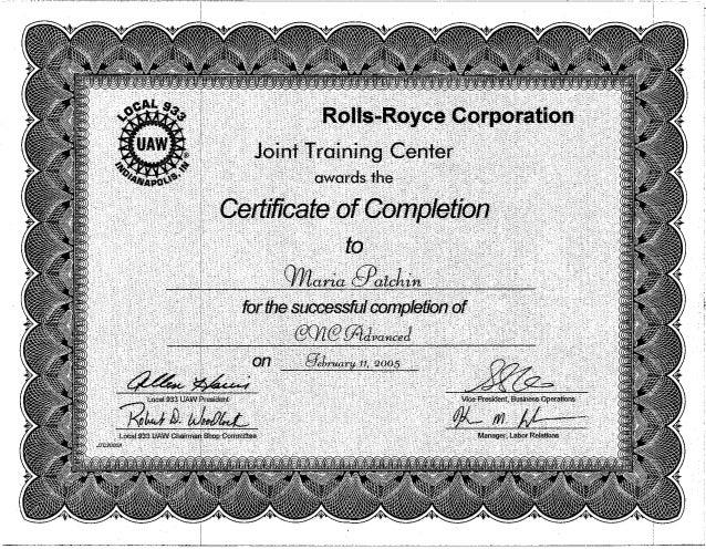 Advanced Cnc Certification
