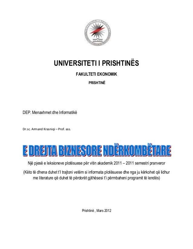 UNIVERSITETI I PRISHTINËS                                      FAKULTETI EKONOMIK                                         ...