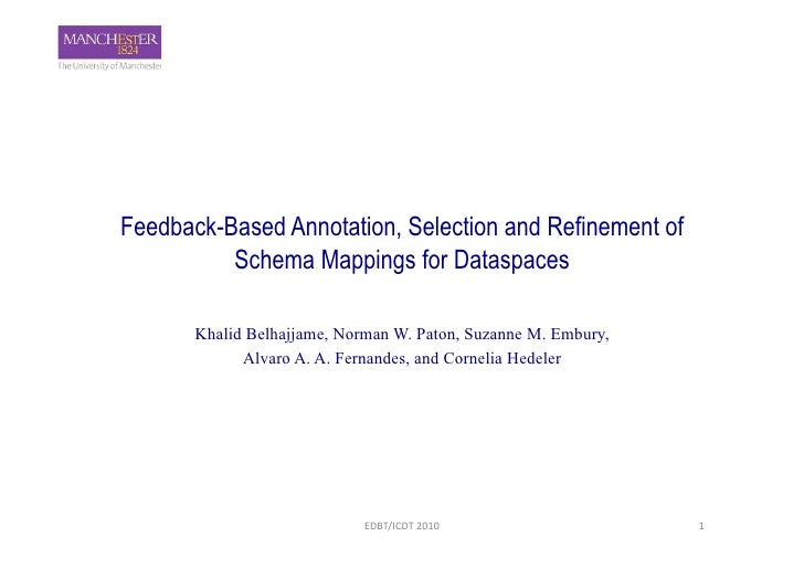 Feedback-Based Annotation, Selection and Refinement of           Schema Mappings for Dataspaces         Khalid Belhajjame,...