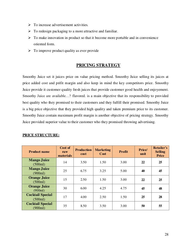 A Sample Fruit Processing Plant Business Plan Template