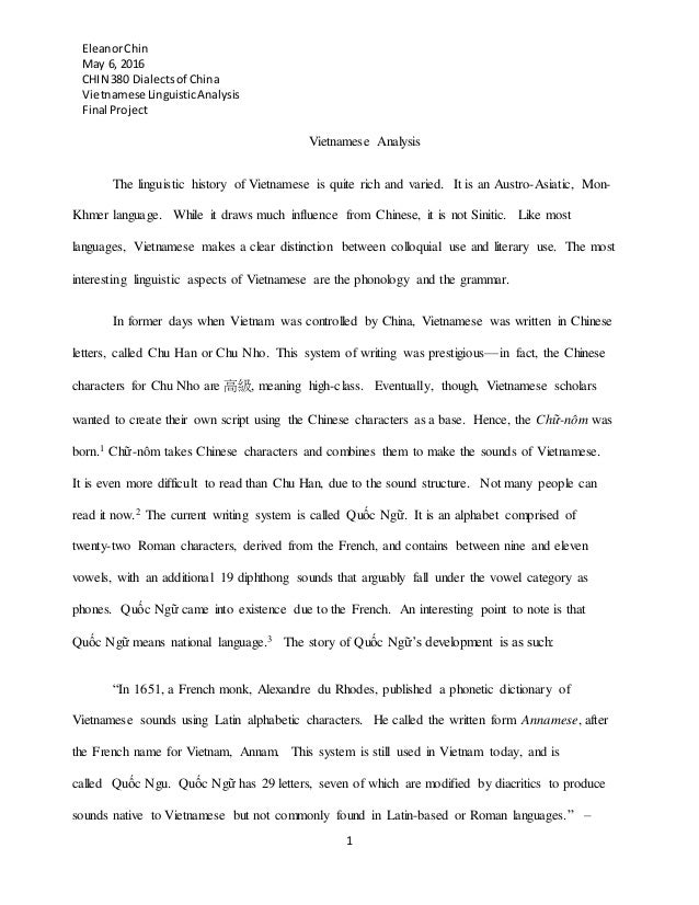 viet se linguistic analysis outline draft final eleanorchin 6 2016 chin 380 dialectsof viet se linguisticanalysis final project 1 viet se analysis