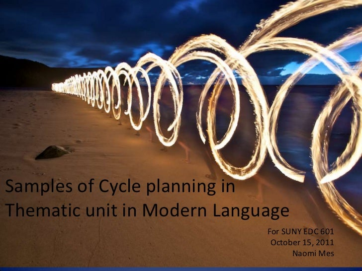 Samples of Cycle planning inThematic unit in Modern Language                             For SUNY EDC 601                 ...