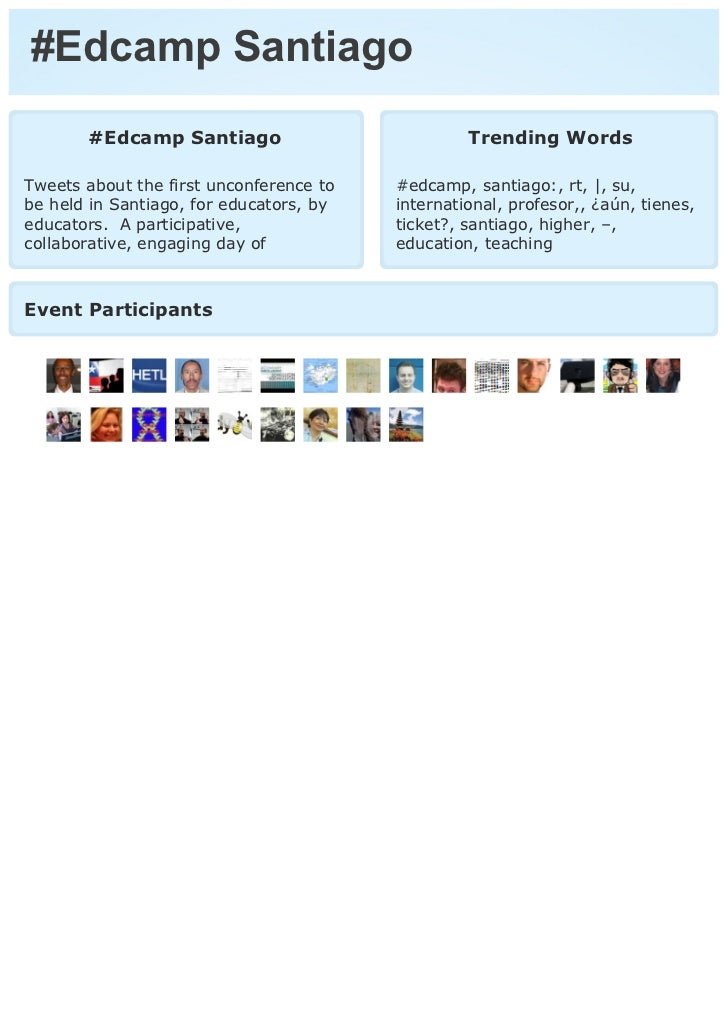 #Edcamp Santiago       #Edcamp Santiago                           Trending WordsTweets about the first unconference to   #...