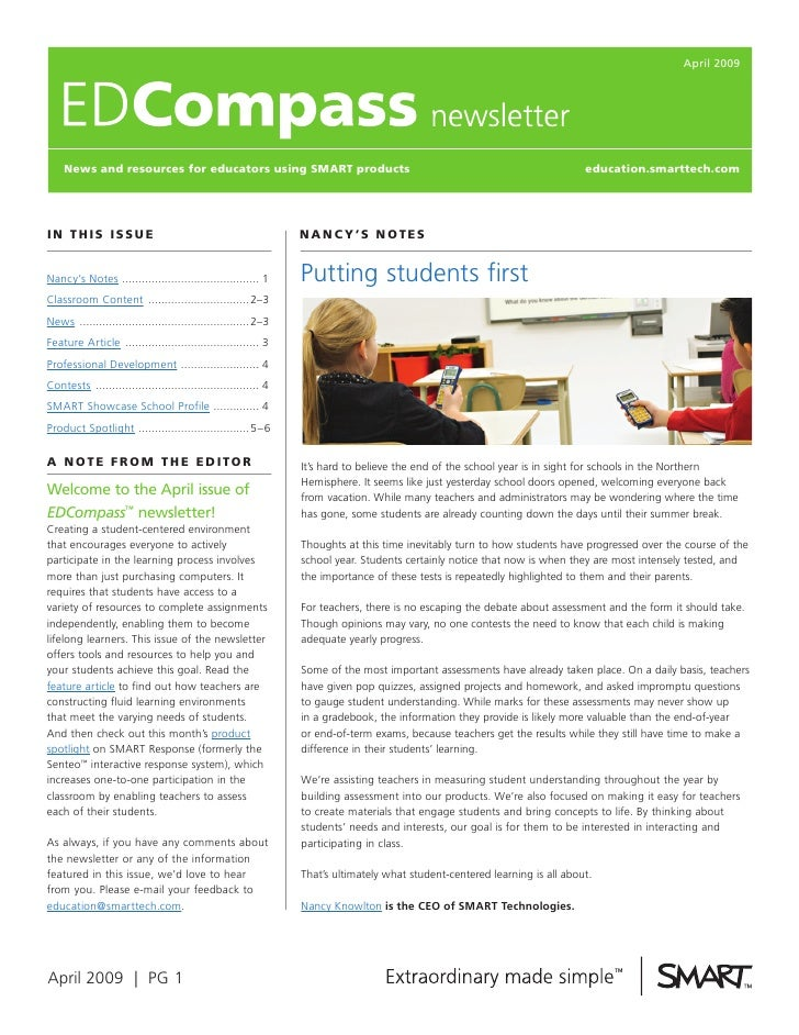 April 2009         News and resources for educators using SmarT products                                                  ...
