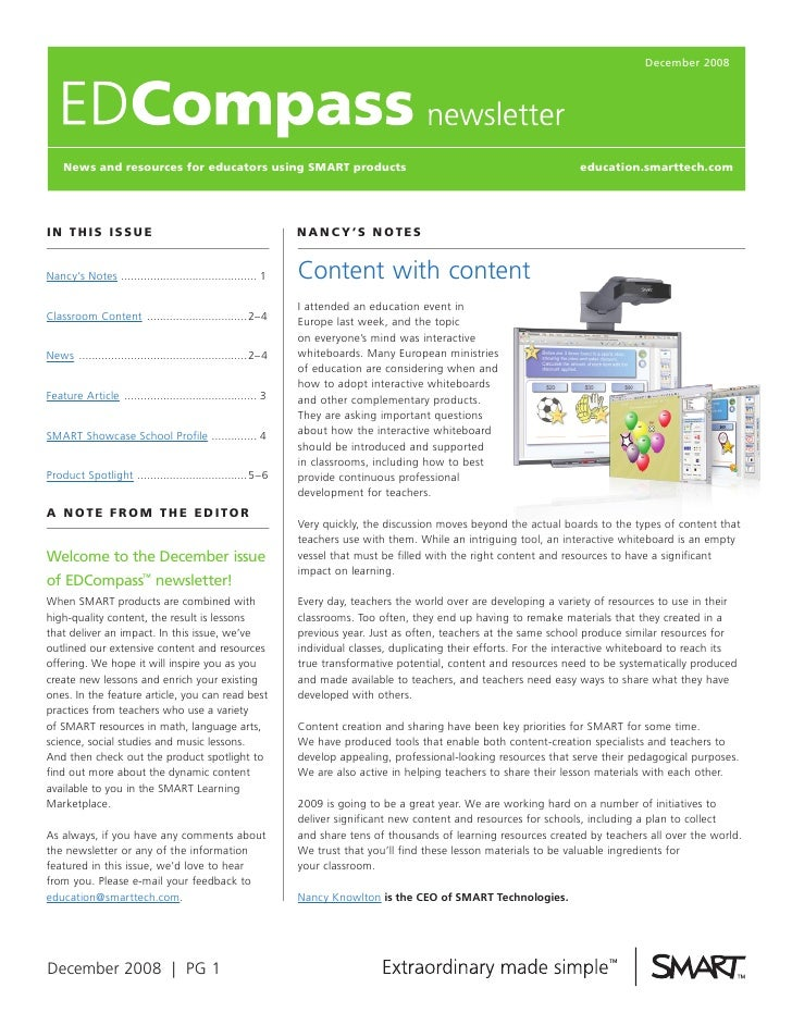 December 2008         News and resources for educators using SmarT products                                               ...