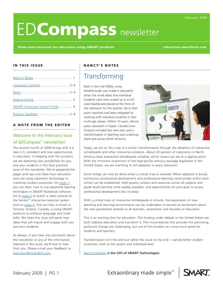 February 2009         News and resources for educators using SmarT products                                               ...
