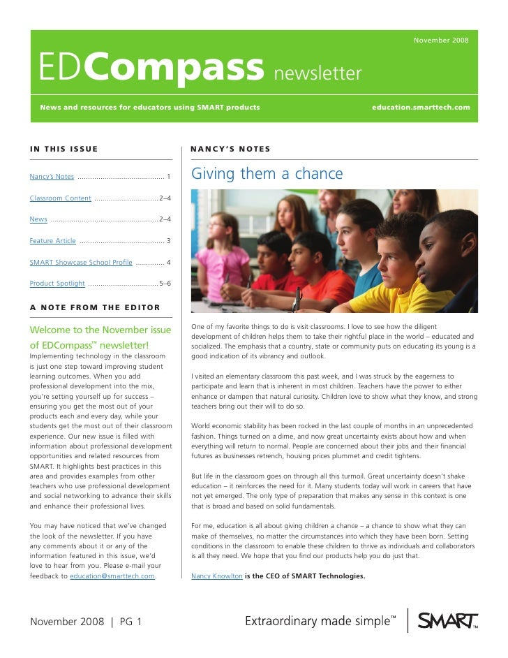 November 2008       EDcompass newsletter     News and resources for educators using SmarT products                        ...