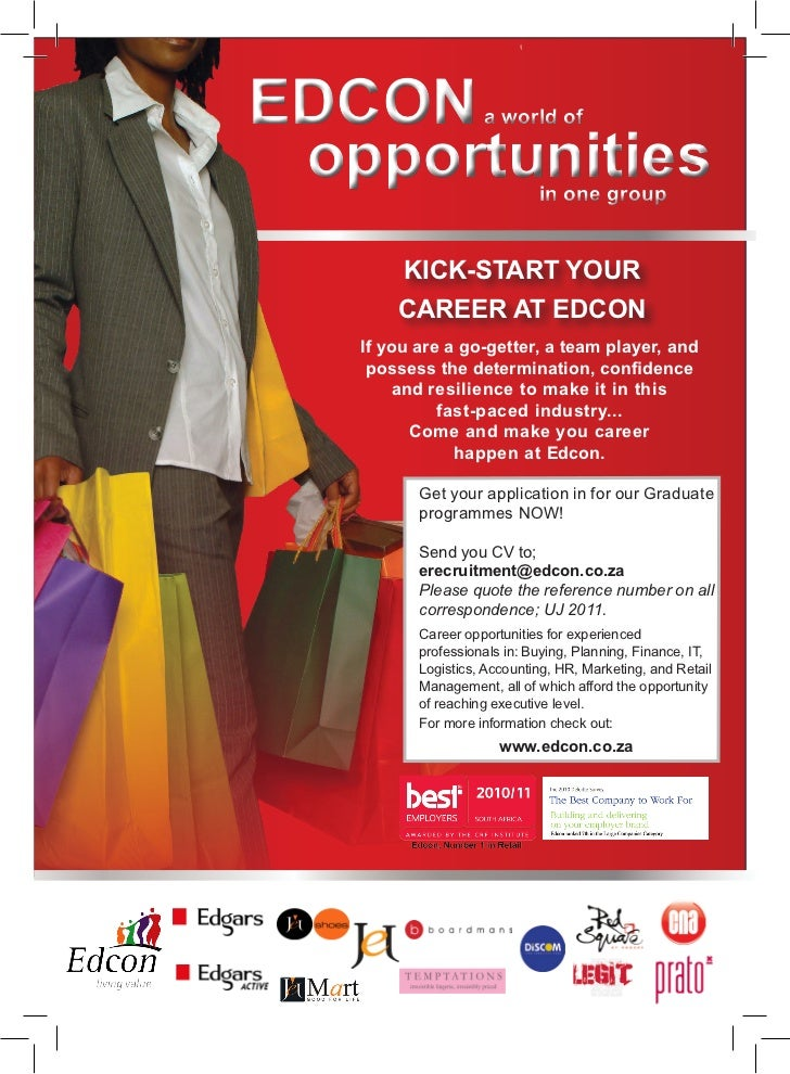 EDCON               a world of opportunities               in one group       KICK-START YOUR       CAREER AT EDCON   If y...