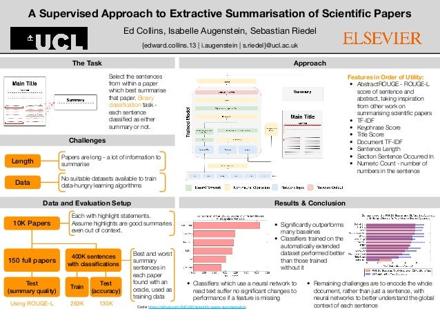 Best and worst summary sentences in each paper found with an oracle, used as training data A Supervised Approach to Extrac...