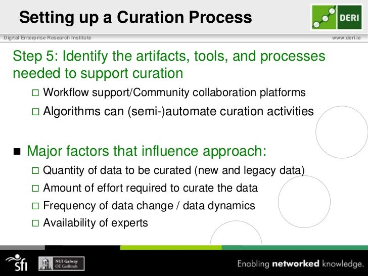Setting up a Curation Process<br />Step 1: Identify what data you need to curate<br />Newly created data and/or legacy dat...