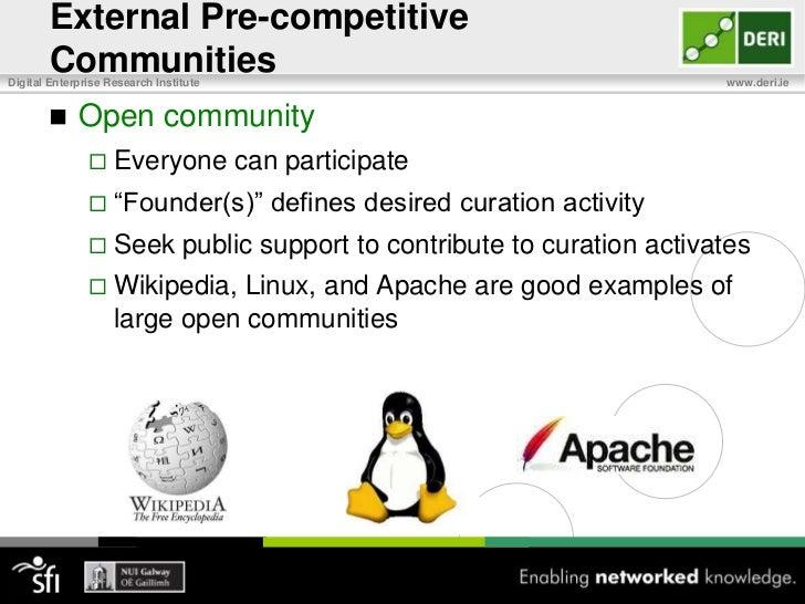 Pre-competitive Communities<br />External pre-competitive communities<br />Share costs, risks, and technical challenges<br...