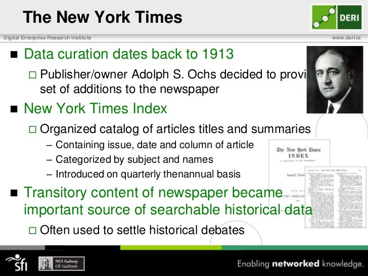 The New York Times<br />100 Years of Expert Data Curation<br />
