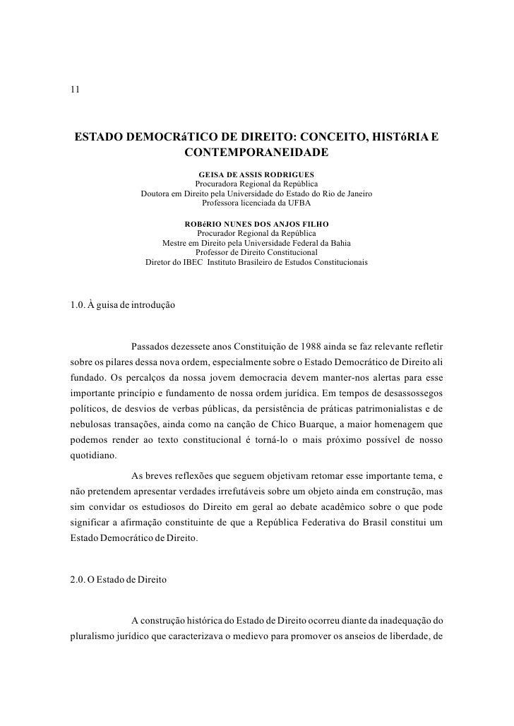 11ESTADO DEMOCRáTICO DE DIREITO: CONCEITO, HISTóRIA E              CONTEMPORANEIDADE                                GEISA ...